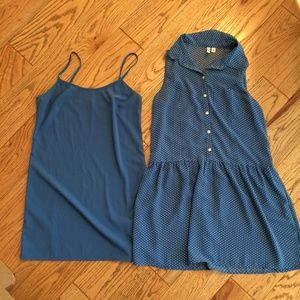 Frenchi Sleeveless Collared Blue Poka Dot Dress S